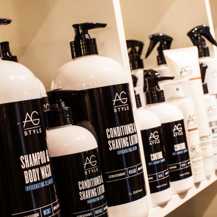 Vincents Den for Mens Haircut Mens Hair Stylist Kingsway Etobicoke AG Hair Bottles